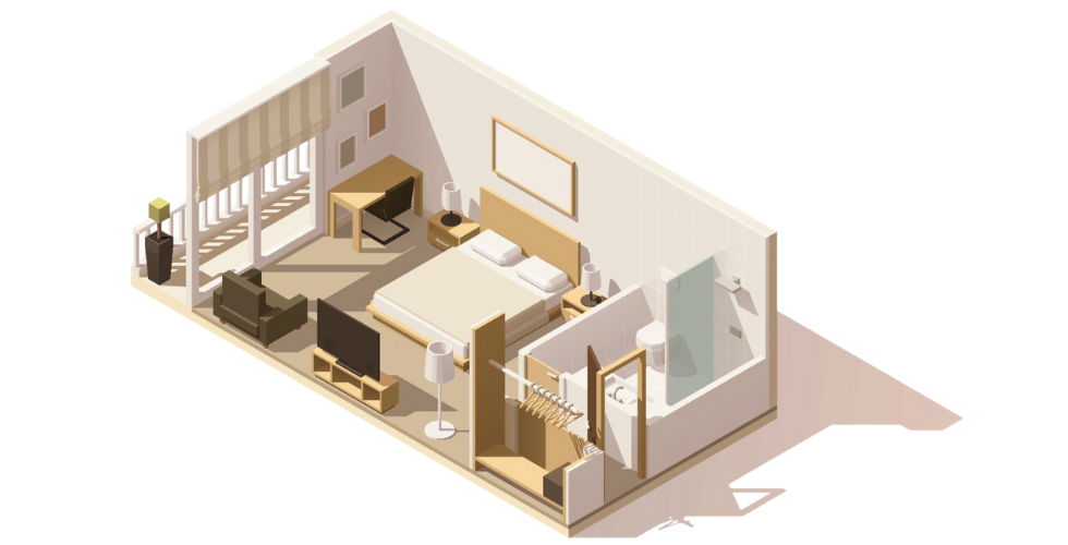 maquette chambre d'hotel